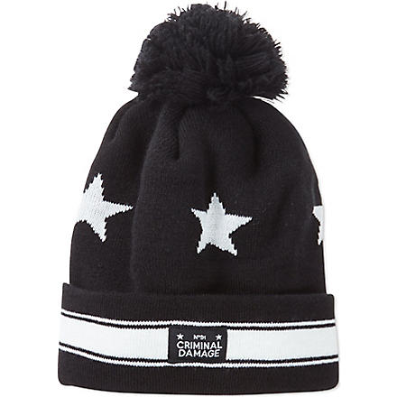 CRIMINAL DAMAGE Pom pom beanie (Black