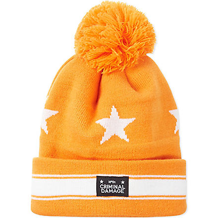 CRIMINAL DAMAGE Pom pom beanie (Orange