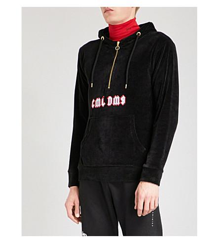 CRIMINAL DAMAGE Logo-embroidered velvet hoody (Black