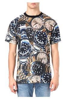 CROOKS AND CASTLES Timepiece repeat t-shirt