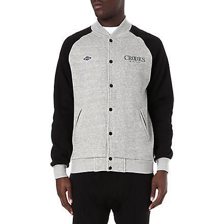 CROOKS AND CASTLES Ballin baseball bomber jacket (Grey/black