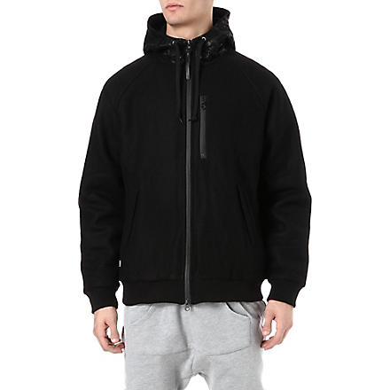 CROOKS AND CASTLES Leather-panelled hoody (Black