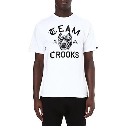 CROOKS AND CASTLES Team crooks dog t-shirt (White