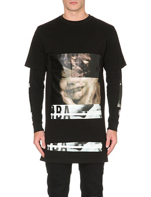 HOOD BY AIR Double sleeve printed cotton-jersey top