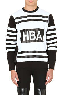 HOOD BY AIR Colour-blocked stripe cotton-jersey sweatshirt