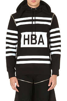 HOOD BY AIR Colour-blocked stripe cotton-jersey hoody