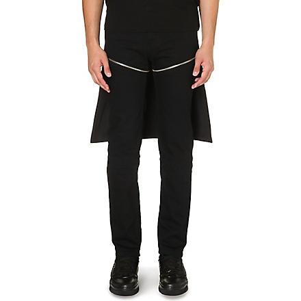 HOOD BY AIR Zip-detail slim-fit tapered jeans (Black