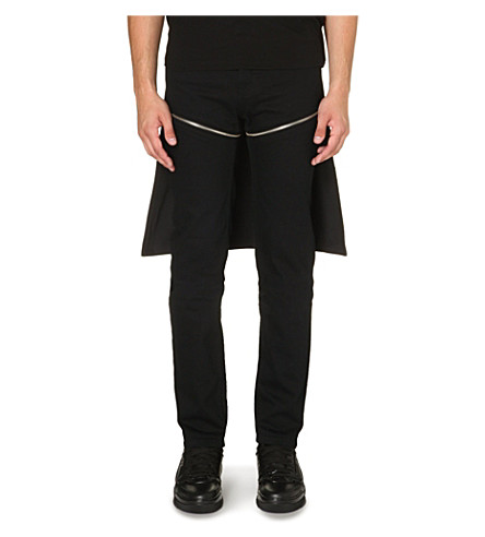 HOOD BY AIR Zip-detail slim-fit tapered jeans (Black
