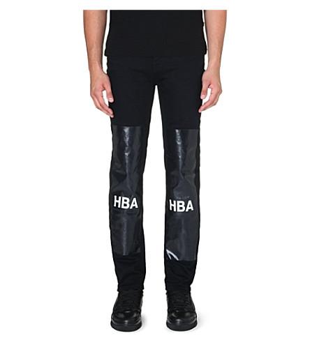 HOOD BY AIR Block-panel slim-fit tapered jeans (Black