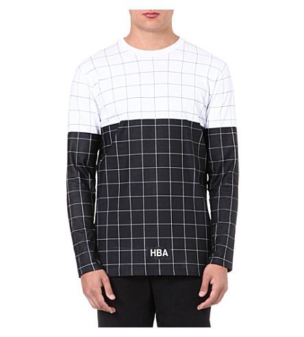 HOOD BY AIR Grid-print cotton t-shirt (Black/white