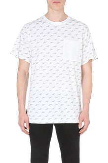 THE HUNDREDS Slant-logo repeat-print t-shirt