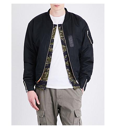 MAGIC STICK Camouflage-lined satin bomber jacket (Black