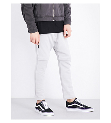 MAGIC STICK Panelled cotton jogging bottoms (Silver+grey