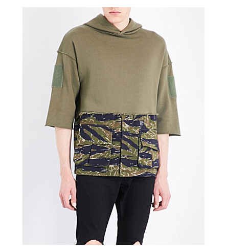 MAGIC STICK Camouflage-print cotton-jersey hoody (Olive+x+tiger+camo