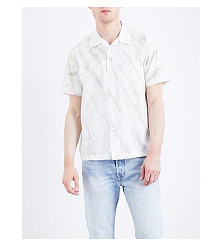 MAGIC STICK Tiger-stripe cotton-blend shirt (White+x+grey+dye