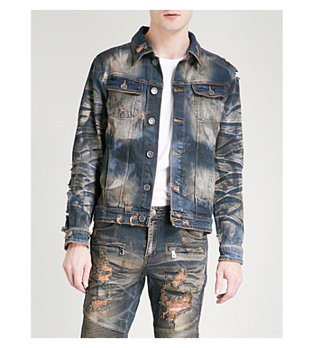 EMBELLISH Calico distressed denim jacket (Vintage+indigo