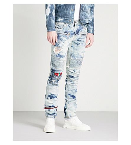 EMBELLISH Costello rose-print slim-fit skinny jeans (Blue+rose