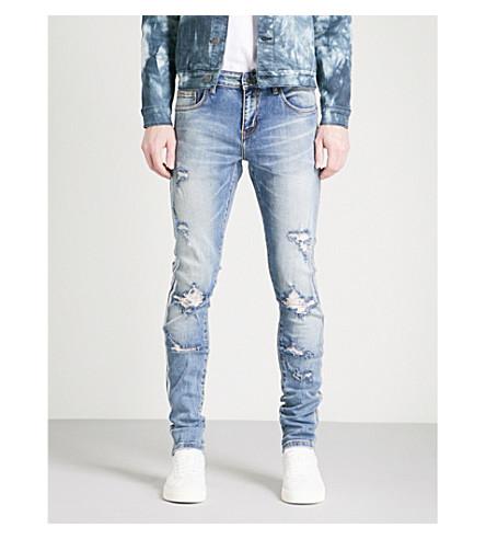 EMBELLISH Side-stripe distressed slim-fit skinny jeans (Blue+silver
