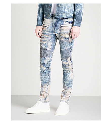 EMBELLISH 舒尔茨修身紧身牛仔牛仔裤 (蓝 + 白