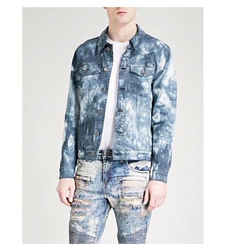 EMBELLISH Acid wash denim jacket (Indigo+acid