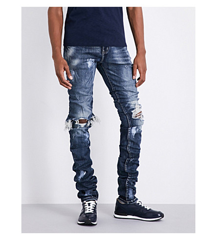 EMBELLISH Cano stacked-effect ripped slim-fit skinny jeans (Blue
