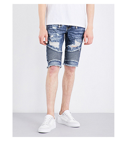 EMBELLISH Dale biker slim-fit skinny shorts (Stone wash