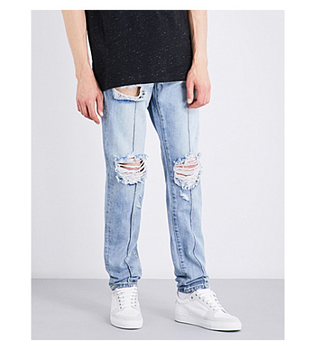 EMBELLISH Paul distressed regular-fit straight jeans (Light+indigo