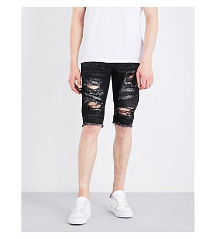 EMBELLISH Abraham distressed slim-fit skinny shorts (Wash+black