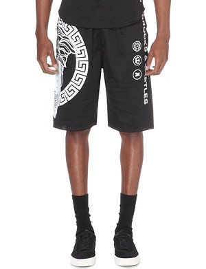 CROOKS AND CASTLES Medusa branded mesh shorts