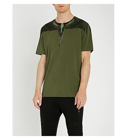 de algodón de de jersey Camiseta BURLON MARCELO alas verde con estampado aqEUW