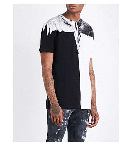 MARCELO BURLON Contrast wing-print cotton-jersey T-shirt (Black+white