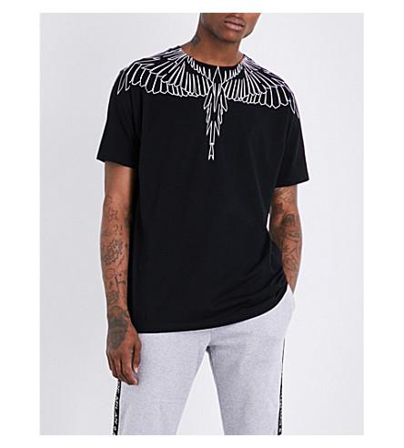 MARCELO BURLON Wing-print cotton-jersey T-shirt (Black+white