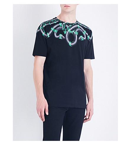 MARCELO BURLON Snake-print cotton-jersey T-shirt (Black+multicolour
