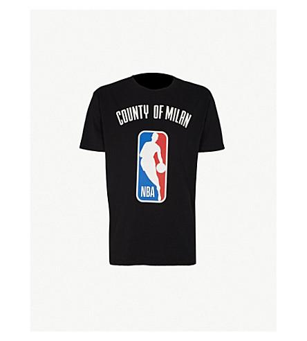 MARCELO BURLON Logo-print cotton-jersey T-shirt (Black+multicolour