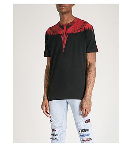 MARCELO BURLON Wing-print cotton-jersey T-shirt (Red+multi