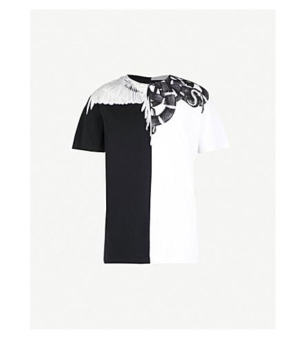 MARCELO BURLON Snake Wing Split cotton-jersey T-shirt (White+multi