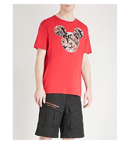 MARCELO BURLON Mickey mouse tiger-print cotton-jersey T-shirt (Red+multi