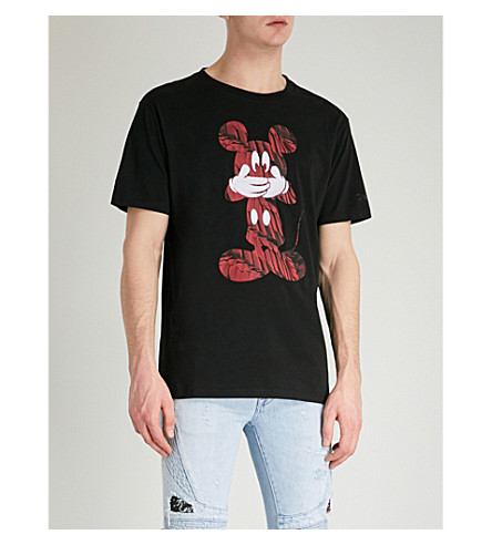 MARCELO BURLON Mickey Mouse cotton-jersey T-shirt (Black+red