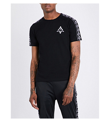 MARCELO BURLON Kappa-print cotton-jersey T-shirt (Black+white