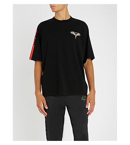 MARCELO BURLON Eagle-print cotton-jersey T-shirt (Black+multicolour