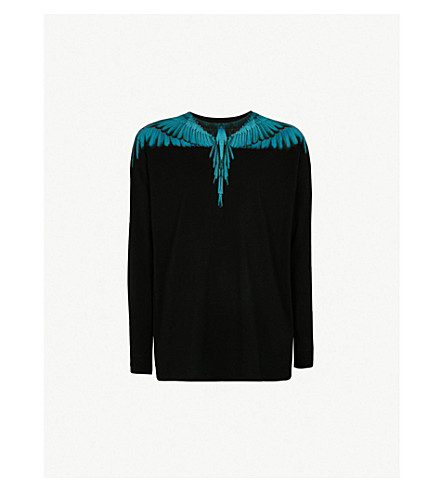 MARCELO BURLON Wing-print cotton-jersey top (Black+light+blue