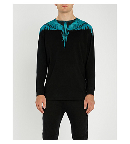 MARCELO BURLON 机翼打印平纹针织棉顶部 (黑色 + 浅色 + 蓝色
