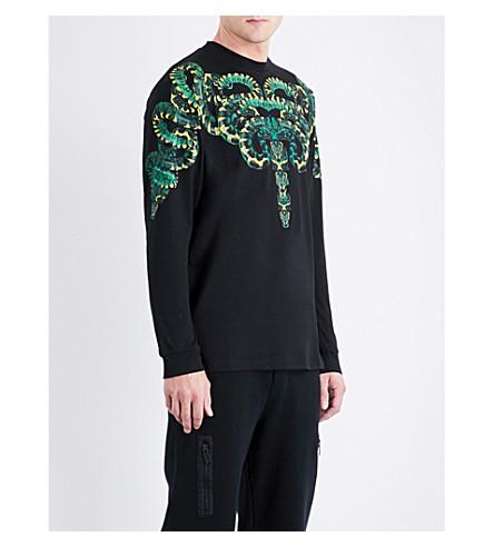 MARCELO BURLON Snake-print cotton sweatshirt (Black+multicolour