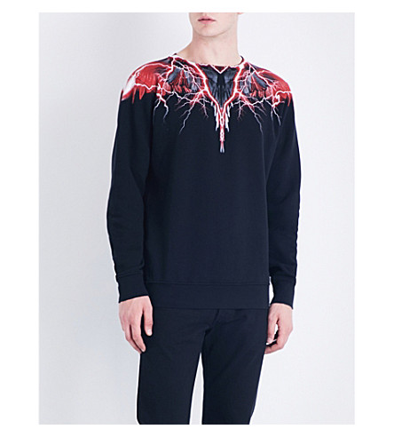 MARCELO BURLON Wing-print cotton-jersey sweatshirt (Black+multicolour