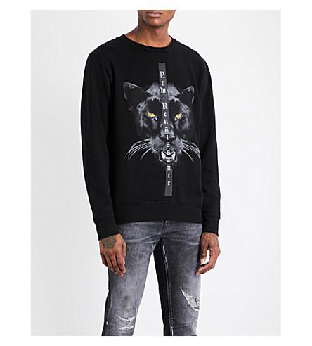 MARCELO BURLON Panther cotton-jersey sweatshirt (Black+multicolour