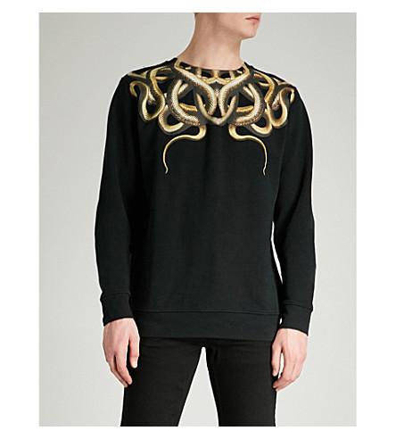 MARCELO BURLON Snake cotton-jersey sweatshirt (Black+yellow