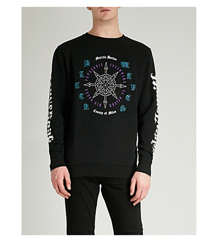 MARCELO BURLON Compass-print cotton-jersey sweatshirt (Black+multi