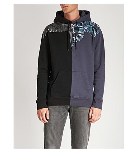 MARCELO algodón Negro de Split BURLON con Wing Snake capucha jersey rvTqrcpH1