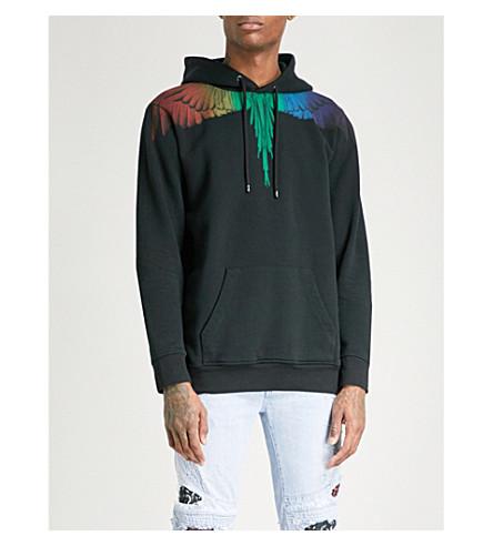MARCELO BURLON Rainbow Wing cotton-jersey hoody (Black+multi