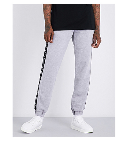 MARCELO BURLON Logo-print cotton-jersey jogging bottoms (Melange+grey